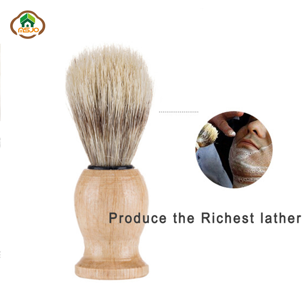 MSJO Badger Beard Hair Men's Shaving Brush Wood Handle Make up Brushes Salon Facial Beard Cleaning Face Shave Tool For Gentleman