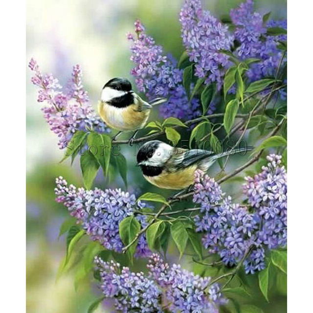 Rs145 Two Birds Lavender Room Decor Embroidery Pattern Diamond 5d