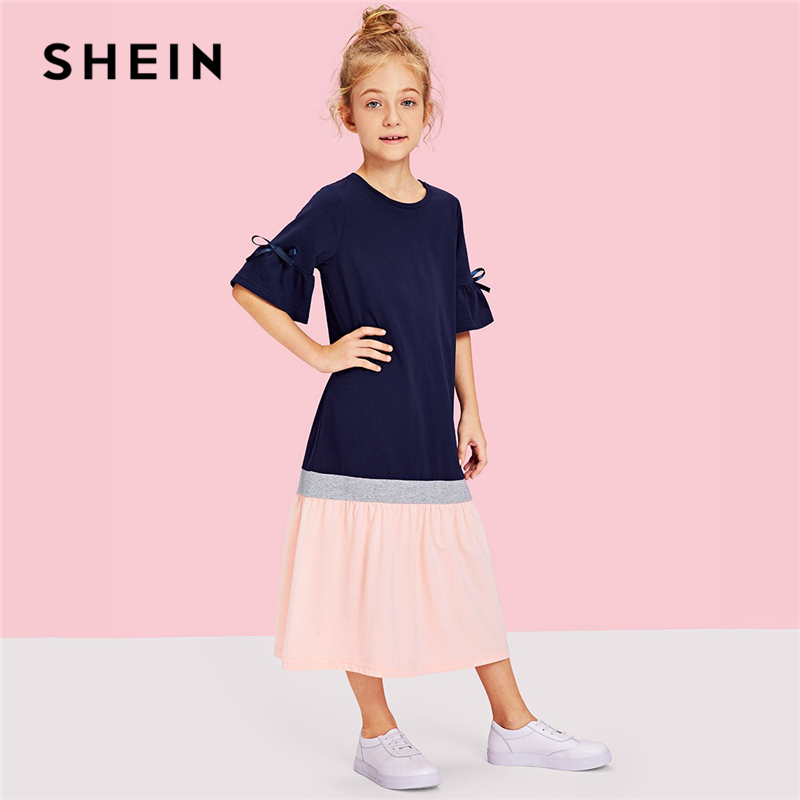 SHEIN Kiddie Flounce Sleeve Cut and Sew Colorblock Knot Tunic Casual Girls Dress 2019 Shift Cute Kids Dresses For Girls Clothing