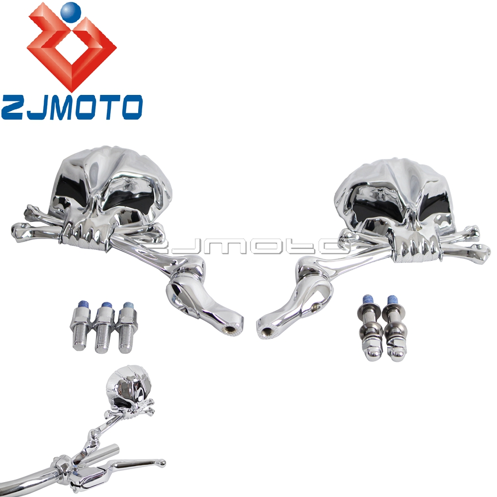 Motorcycle Aluminum Skull Chrome Rear View Side Mirrors
