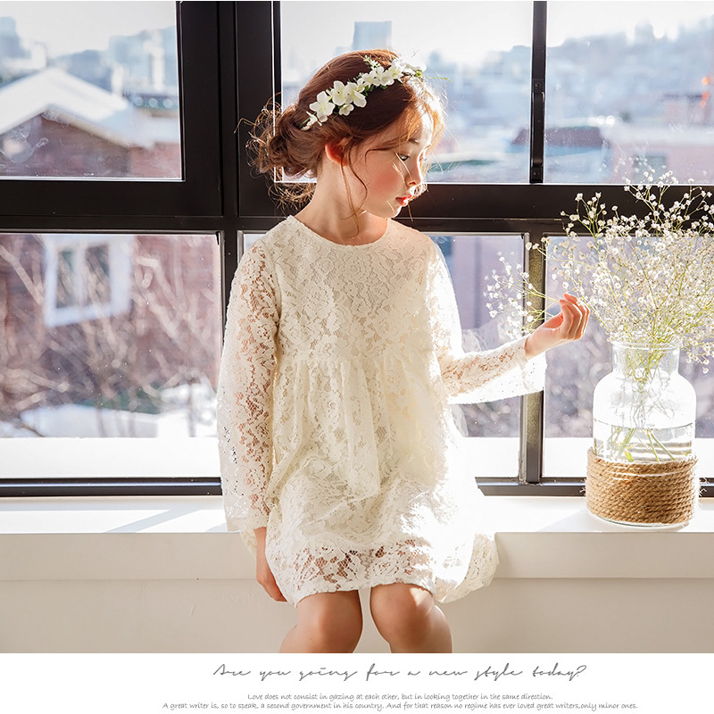 3-12Y Girls Princess Dress High Quality Children Clothing Baby Girl Long Sleeve Lace Evening Dress Kids Party Dresses Teenager high quality girls baby hollow out bud silk condole belt dress princess party dresses children s clothing wholesale