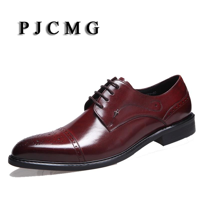 rojo Del De Para Oxfords Cuero Negro Mens Black brown Zapatos brown up Encaje Moda Pisos Vestido Nueva Negocio Boda red Hombre Banquete Auténtico Pjcmg UvaO0tt