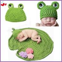 Piękny Śliczne Dziecko Niemowlę Noworodek Handmade Crochet Knit Czapka Zielona Żaba Kapelusz + Koc Zestaw Kostiumów Fotografia Rekwizyty 0-6 Miesięcy HA002