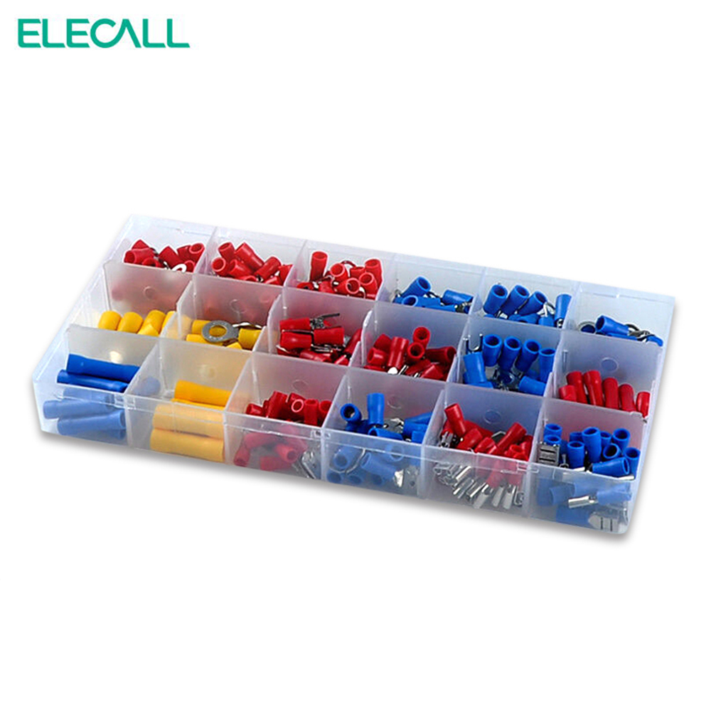 295Pcs/ Box 18 In 1 Insulated Terminals Spade Ring Fork U-type Electrical Crimp Connector Tube Wire Connector Assortment Kit yt 480pcs insulated crimp terminals seal butt electrical wire cable spade ring fork crimping connector set with storage box