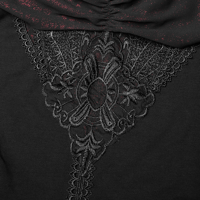T shirt Ot Gothique Nouvelles Harajuku Rave Black Noir Avant Off Dentelle Sexy Avec Punk épaule Applique Club Court Femmes 545 Tops De qzOwxx58R
