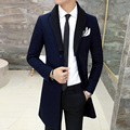 2016 Mens Long Trench Coat Royal Blue Luxury Cashmere Jackets Woolen Slim Fit Long Coat Palace Wool Big Collar Grey Black Jaquet