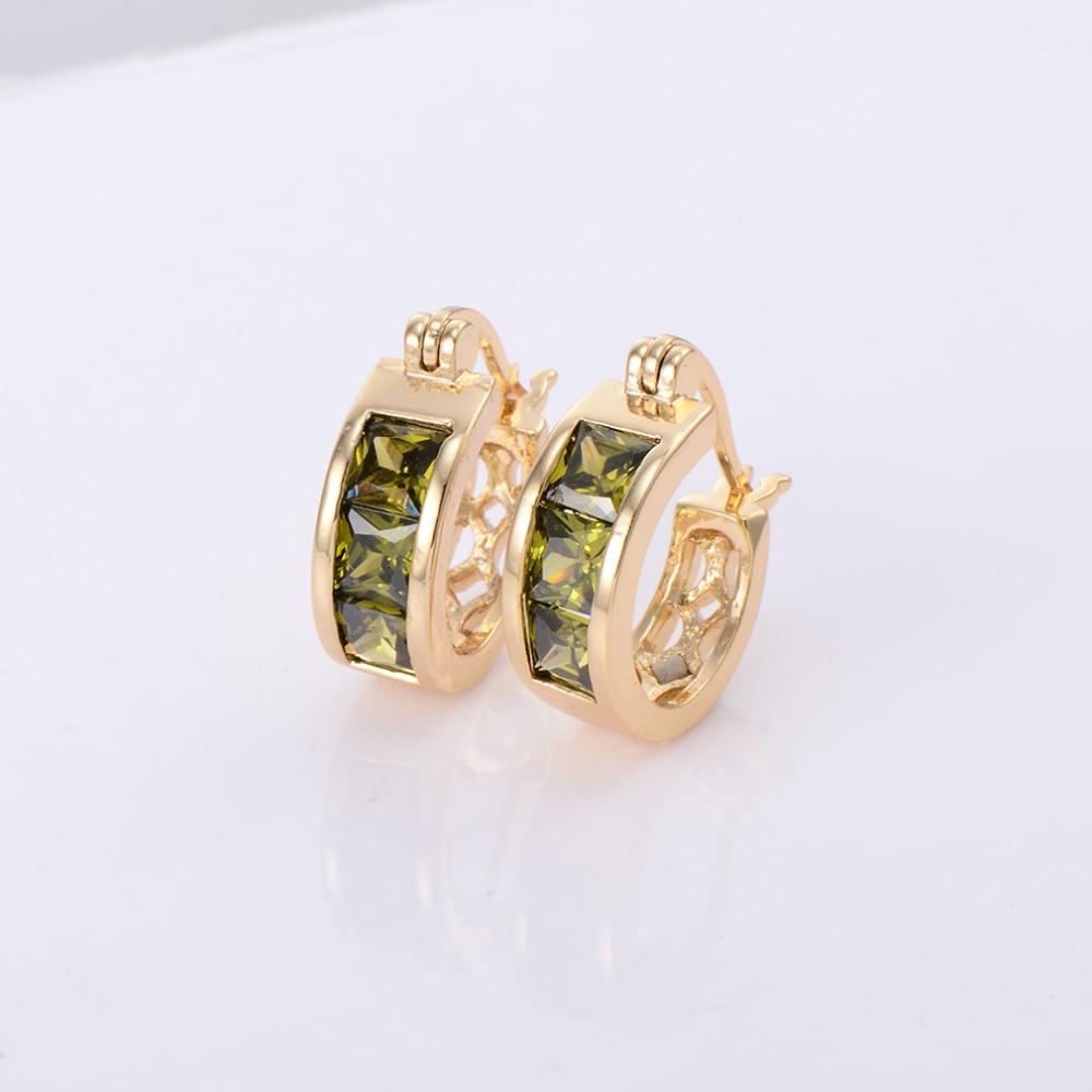 White Green Crystal Zircon Hoop Earrings Gold For Women Wedding Party Jewelry Earrings