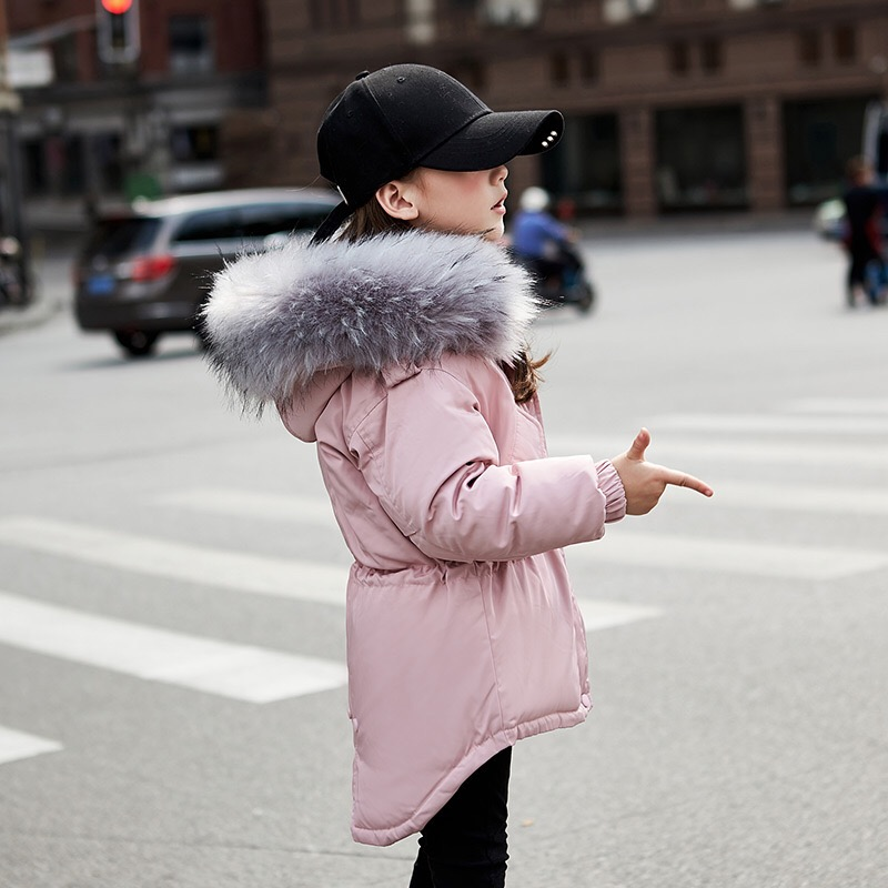 Fashion Girl winter down Jackets Children Coats warm baby 100% thick white duck Down Kids Outerwears for cold -30 degree jacket fashion girls winter white duck down jackets and coats children faux fur hooded long coat kids girl thick warm jacket 2017