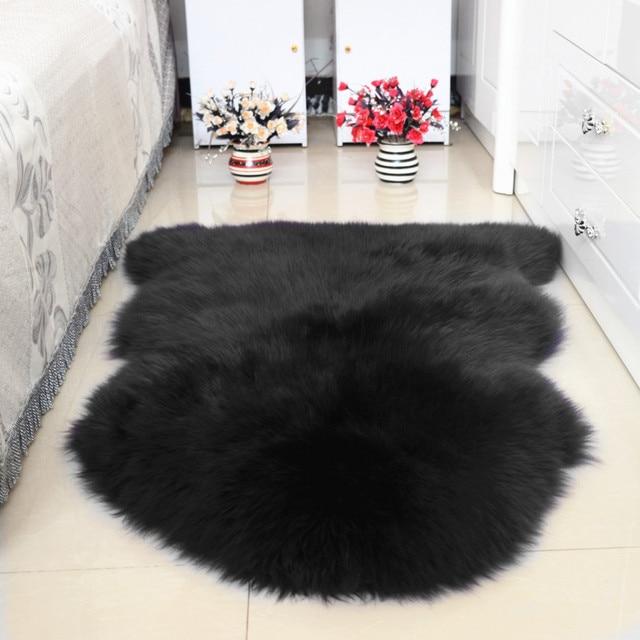 100% Fur Wool Whole Sheepskin Cushion Sofa Cushion Bed Pad Sheep Skin  Carpet Bedside Rugs