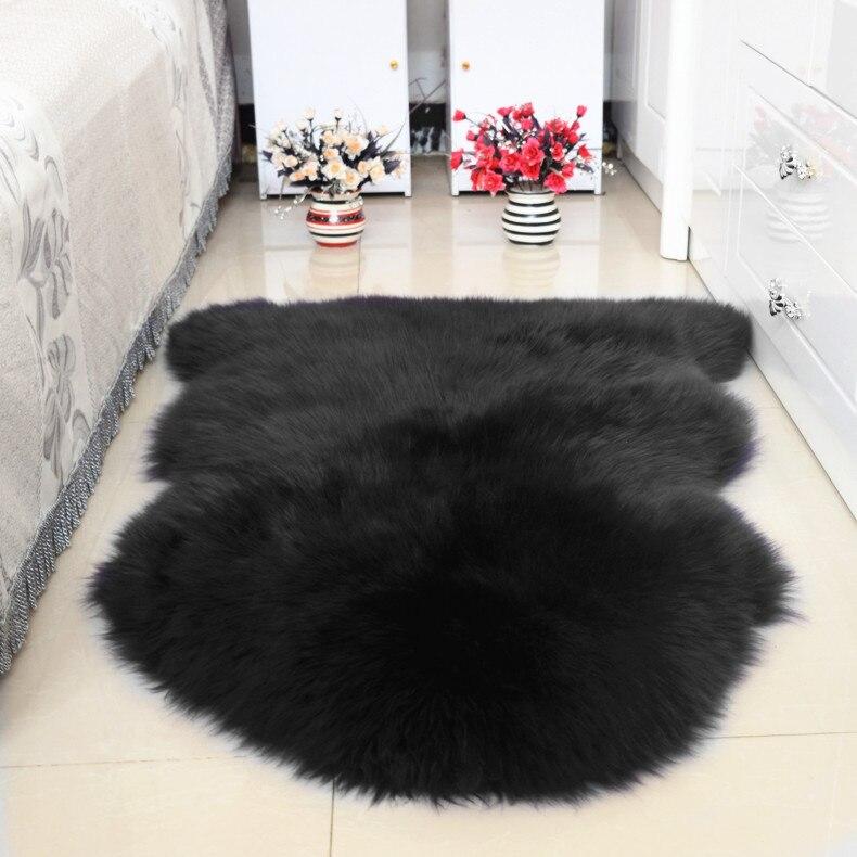 Fourrure laine entière peau de mouton coussin canapé coussin lit Pad peau de mouton tapis chevet tapis chambre salon européen
