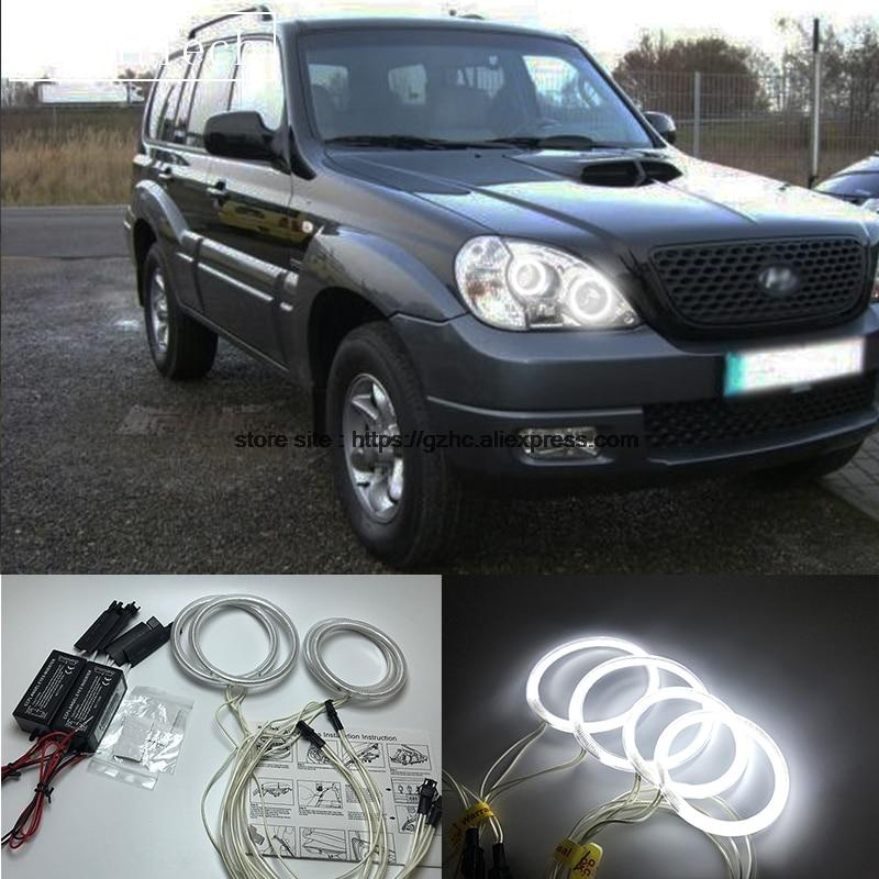 HochiTech For Hyundai Terracan 2001-2007 Ultra Bright Day Light DRL CCFL Angel Eyes Demon Eyes Kit Warm White Halo Ring