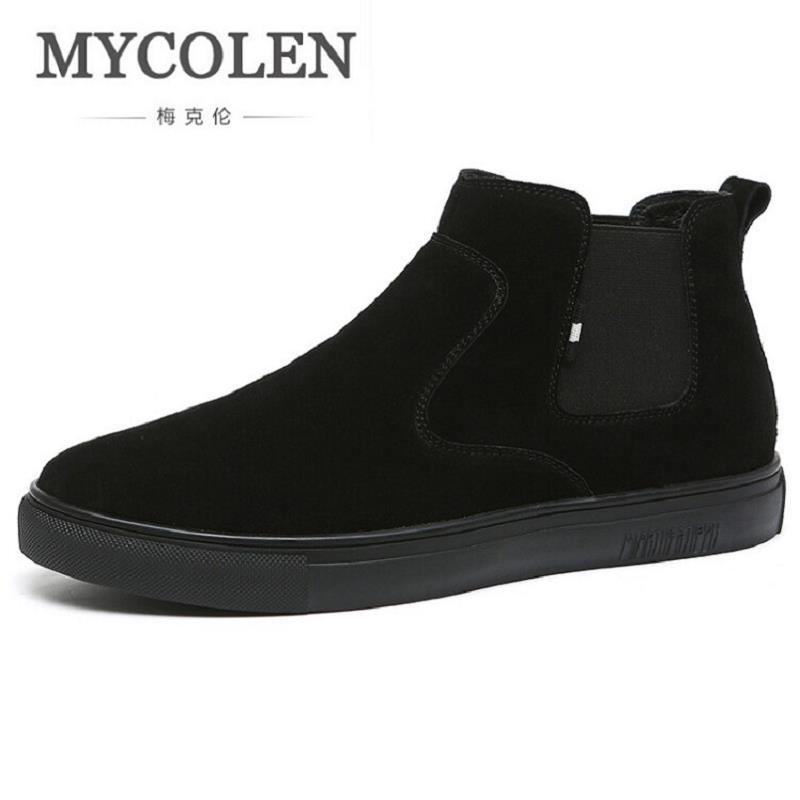 MYCOLEN 2017 New Style Genuine Leather Chelsea Boots For Men Winter England Style Boots Slip On Ankle Martin Shoes laarzen dames men s chelsea boots luxury brand full genuine leather ankle boot men quality slip on shoes zapatos hombre size 39 44 la2502m