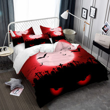 Scarlet Moon Bedding Set Halloween Ghost Eye Duvet Cover Set Cartoon Cat Tomb Print Bedclothes Bed Cover 3Pcs Festival Gift D35 halloween cartoon ghost print sweatshirt