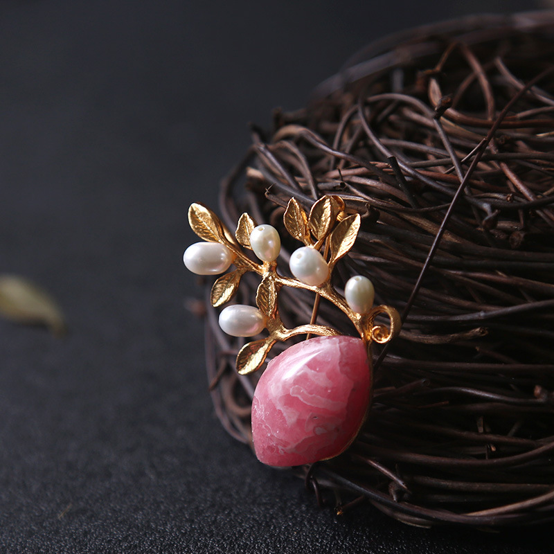 Amxiu Precious Natural Rhodochrosite Brooch Freshwater Pearls Real Gold Plated Brooches Pins Flower Necklace Pendant Accessories amxiu customized natural shaped pearls brooch pins dual use women necklace pendant beeswax turquoise jewelry flower accessories