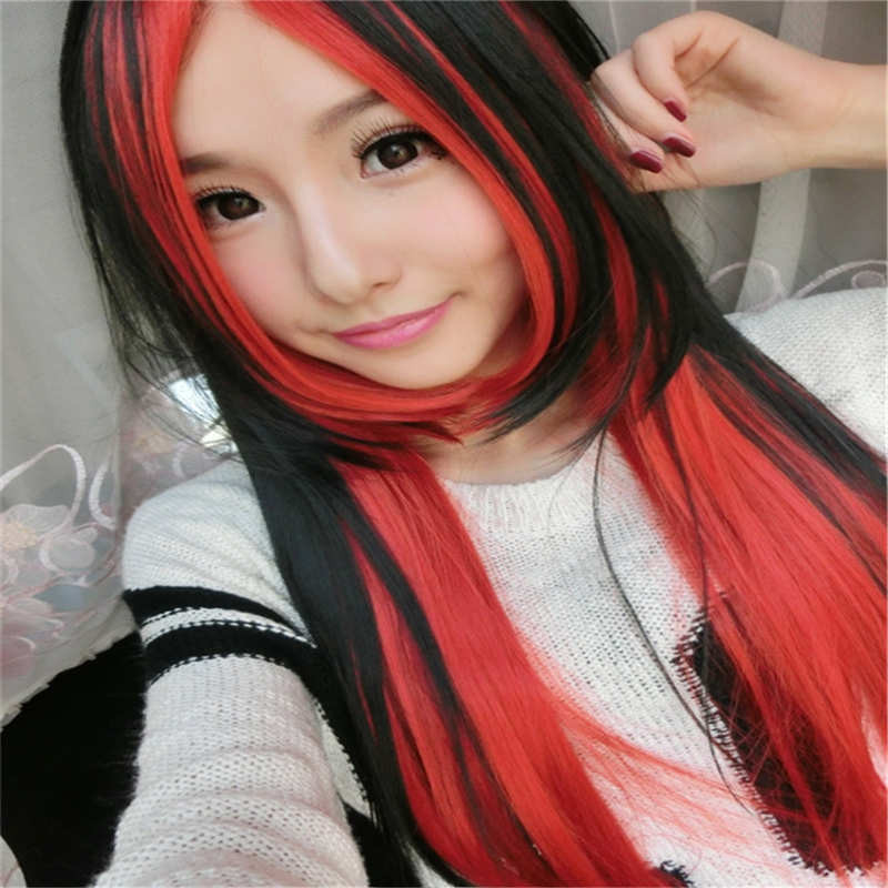Black+Red Highlights Natural Straight Hair High ...