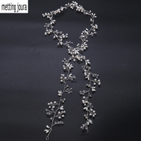 Wedding Bridal Very Long White Beads Pearl Knitted Head Bands Bridal Flower Hairband For Women Girls