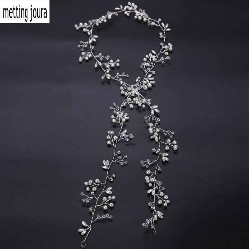 Metting Joura Wedding Bridal Very Long Headband White Beads Pearl Knitted Hair Bands Bridal Flower Hairband