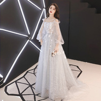 Grey Elegant Long Sleeve Casual Dress Summer Chiffon Women Floor Length Evening Party Dresses Gown Plus Size Vestidos XS 3XL