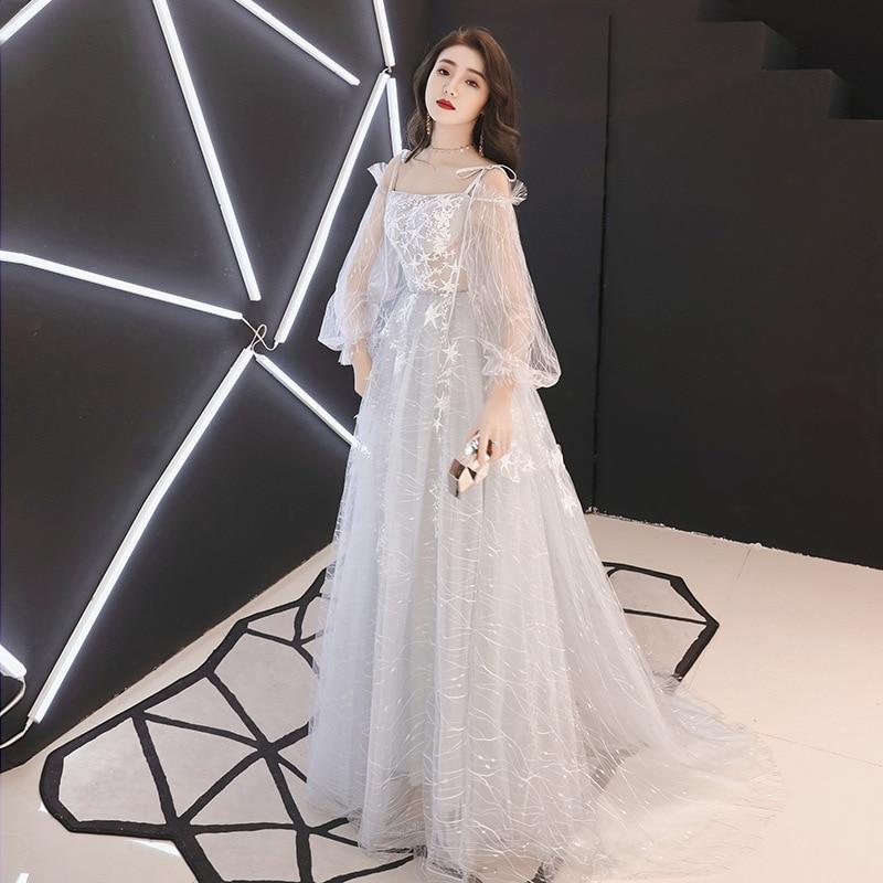 Gris élégant à manches longues tenue décontractée été en mousseline de soie femmes étage longueur robes de soirée robe grande taille Vestidos XS-3XL