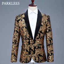 Shiny Gold Floral Sequins Glitter Blazer Jacket Men Shawl Collar Mens Black Dress Suits Stage Prom Party Singer Wedding Costumes