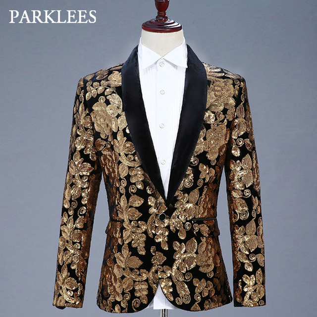 e21e5ee2c38771 Shiny Gold Floral Sequins Glitter Blazer Jacket Men Shawl Collar Mens Black  Dress Suits Stage Prom Party Singer Wedding Costumes