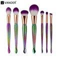 Vander Professional 7 PCS Roxo Da Sereia Cabelo Compõem Sobrancelha Delineador Contorno Fundação Blush Blending Cosmetic Brushes Set