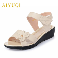 Купить с кэшбэком AIYUQI Plus Size 41#42#43#2019 Spring New Genuine Leather Women's Sandals Middle-aged Flat Sandals Shoes Women