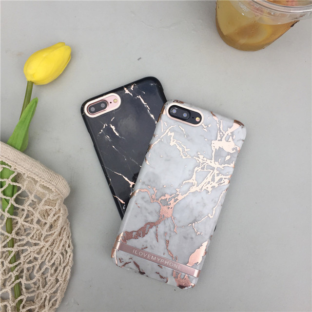 Luxe rose goud marmer print telefoon case voor iphone 7 8 plus mode harde plastic cover cases - Luxe marmer ...