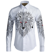 New Arrival 2017 Spring Autumn Men Hardcover Three-dimensional Geometry Lion Head Print Long-sleeve Casual Cotton Men Shirt