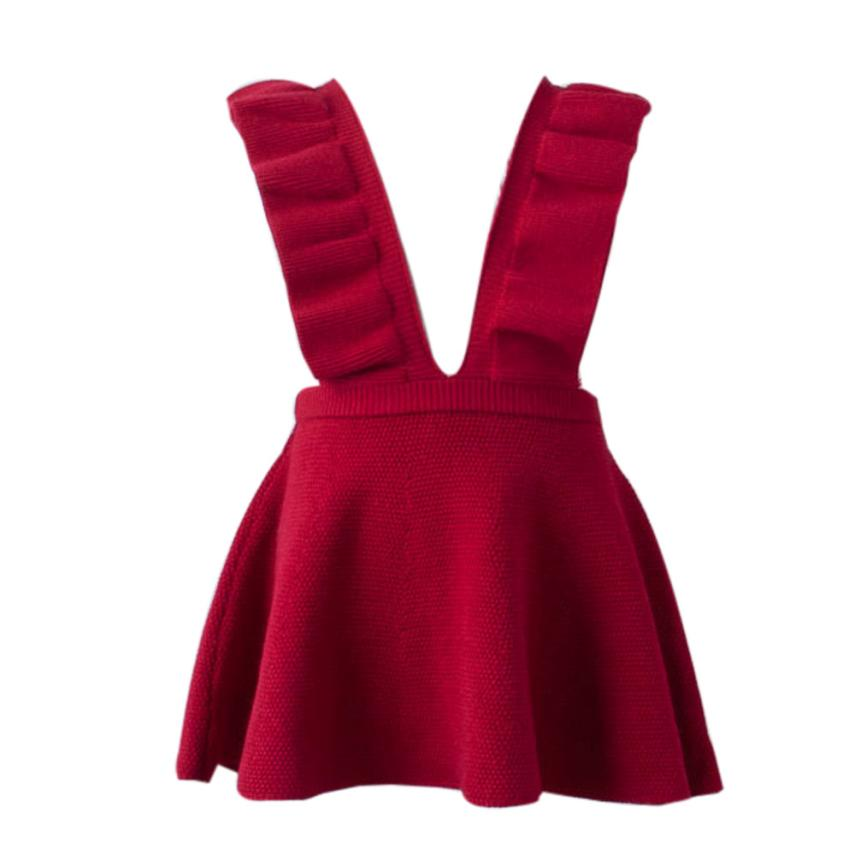Autumn Toddler Girl Kids Baby Knit Sweater Solid Sleeveless Ruffle Dress Clothes Sep 19