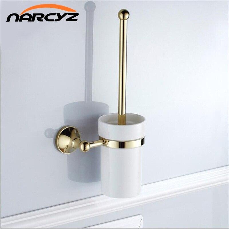 Gold brass bathroom toilet ceaner brush holder Archaize toilet rack holder Bathroom hardware accessories Toilet brush