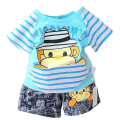 2017 summer new cotton casual cartoon kids clothes set short sleeve stripe T-shirt+shorts baby boys clothing set free shipping