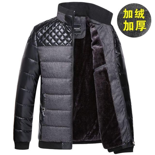 2016new inverno high-end dos homens de moda casual de algodão costura casaco quente jaqueta grossa de lã forro 135008
