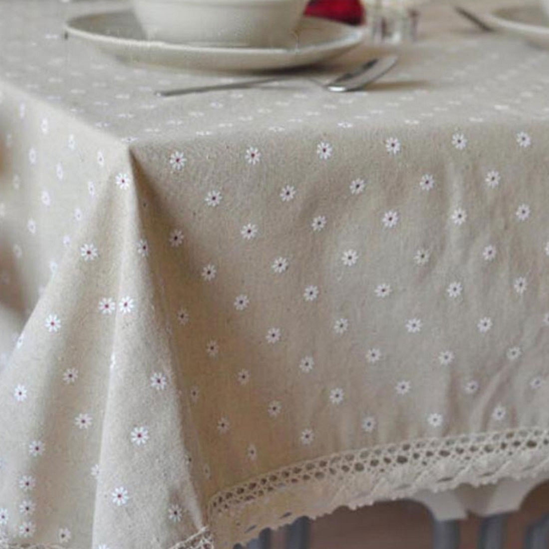 Nice Table Accessaries Floral Dustproof Table Covers Lace Edge Country Style Linen Cotton Table Cloth