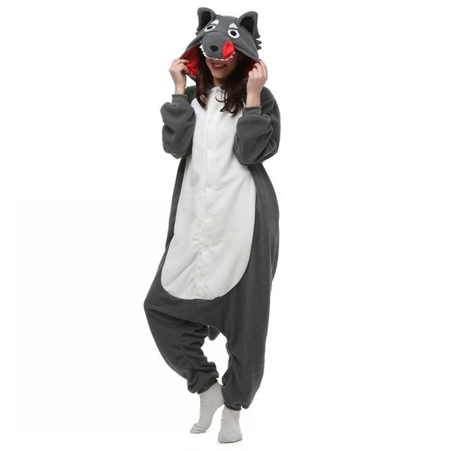 Fiesta De Navidad Del Traje de Halloween Lindo Lobo Gris Grande Lobo Onesie Pijamas Traje Demostración del Funcionamiento de Una sola pieza la ropa de Dormir Pijama