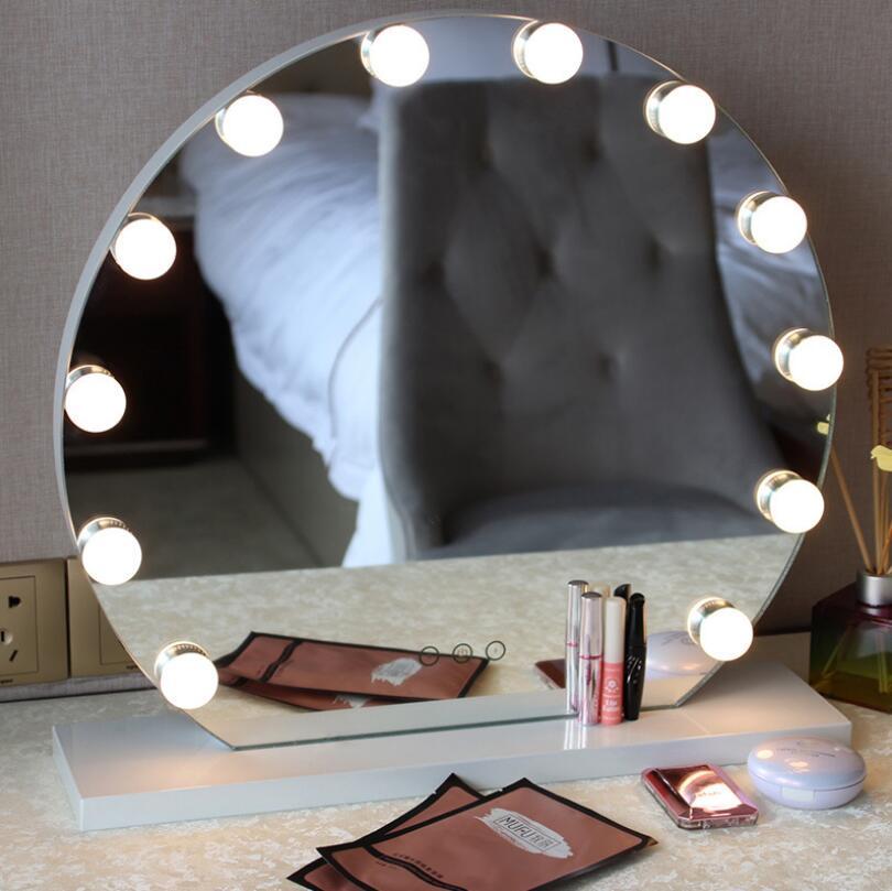 Розничная продажа бескаркасное косметическое зеркало с светлым голливудским макияж освещенное зеркало 3 цвета Свет косметическое зеркало