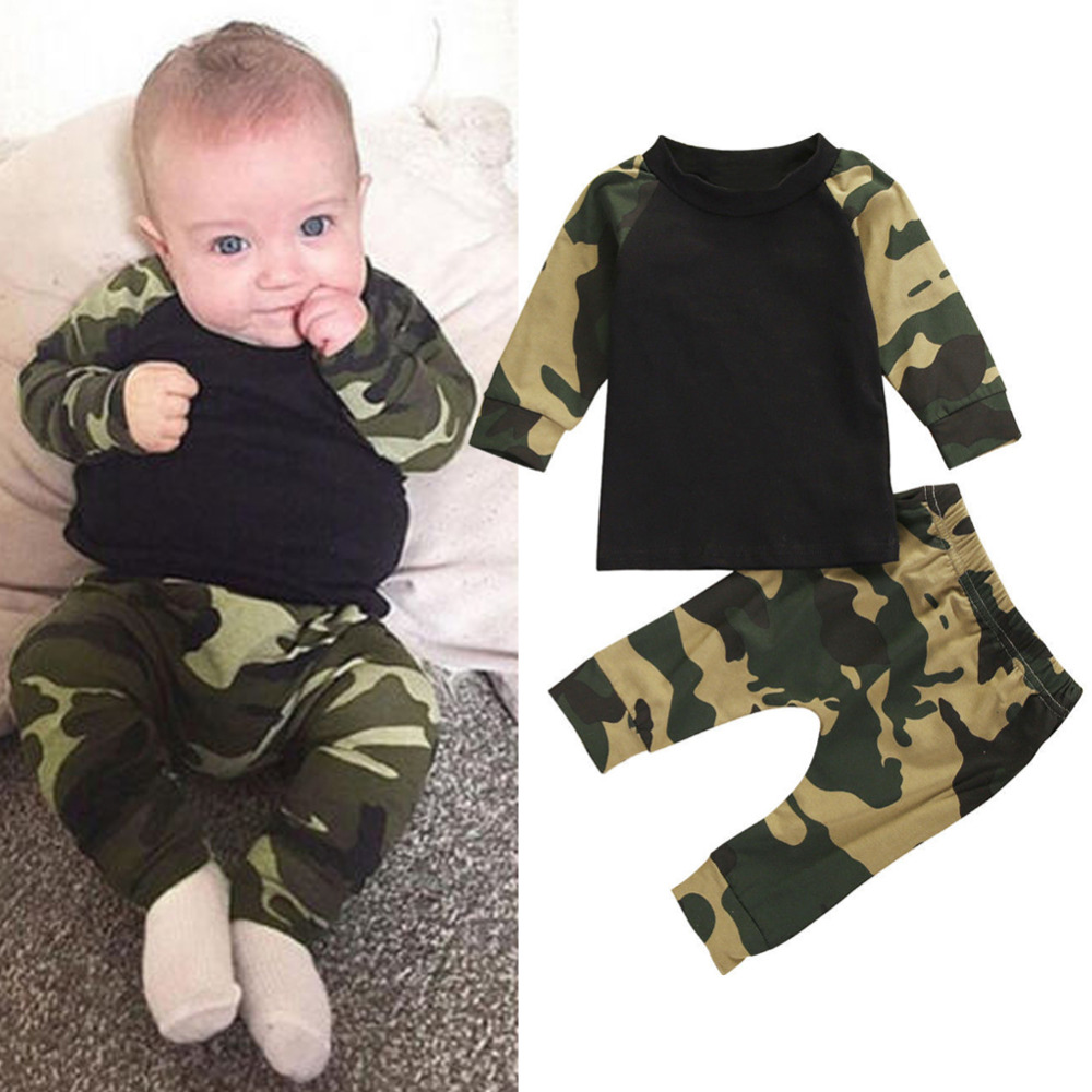 2017 Autumn Cute Camouflage Newborn Baby Boy Clothes Long
