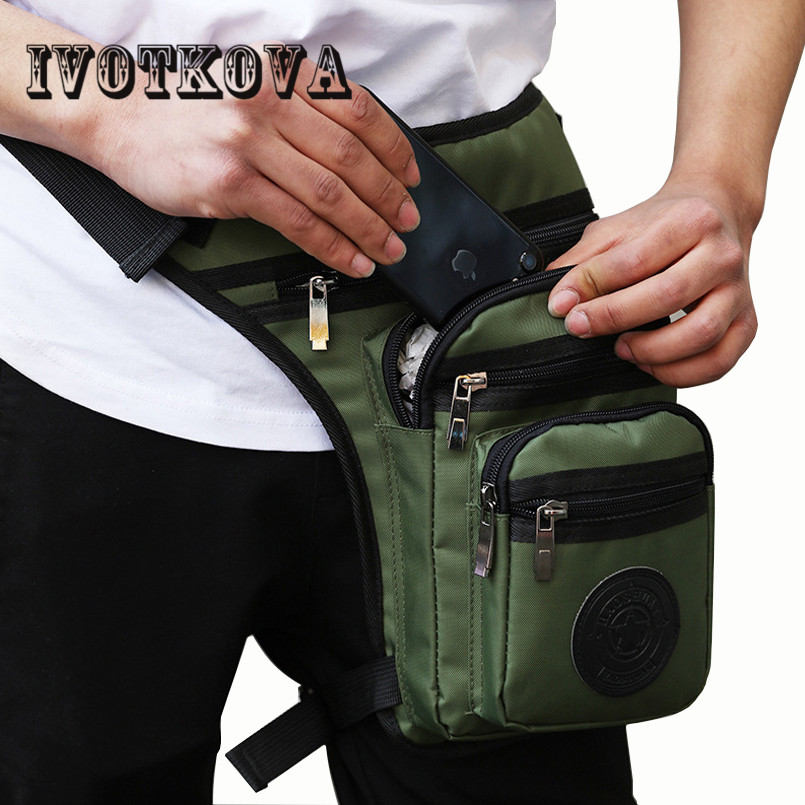 IVOTKOVA Men Fashion Waist Leg Drop Bag Oxford Military Fanny Pack Motorcycle Rider Travel High Quality Waterproof Leg Bags New