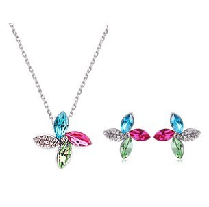 Free Wings 2016 Crystal Sets Flower Earrings Necklaces Wedding Jewelry For Bridals B13.5 ABC