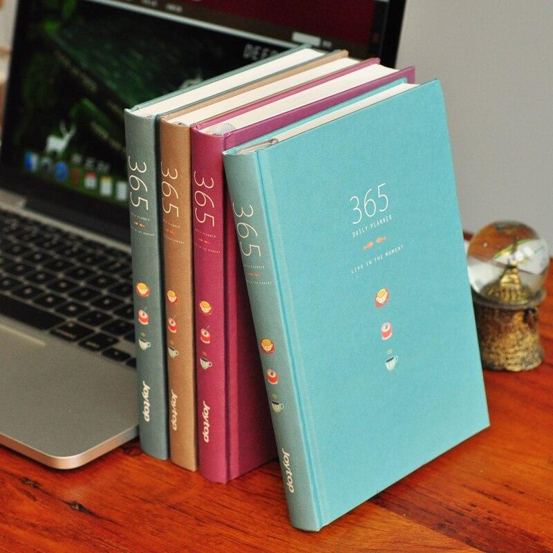 JOYTOP Simple Vintage Color 365 Days Plan Notebook Solid Color A5 Hardcover Notebook 1PCS