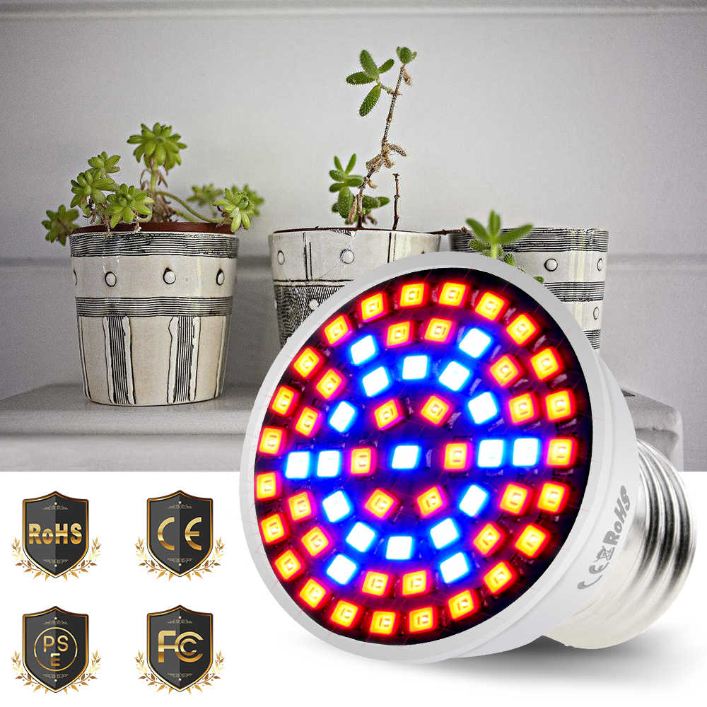 Plantengroei Lamp 2835SMD E27/E14 Spotlight Lamp LED Indoor Grow Light 60/80 leds 220 V Bloemen planten Kas Water Cultuur
