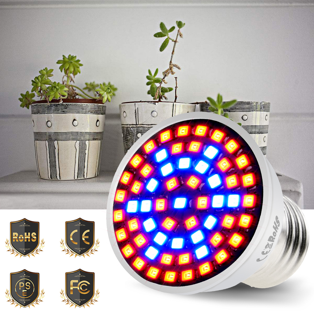 Plant Growth Lamp 2835SMD E27/E14 Spotlight Bulb LED Indoor Grow Light 60/80leds 220V Flowers Plants Greenhouse Water Culture