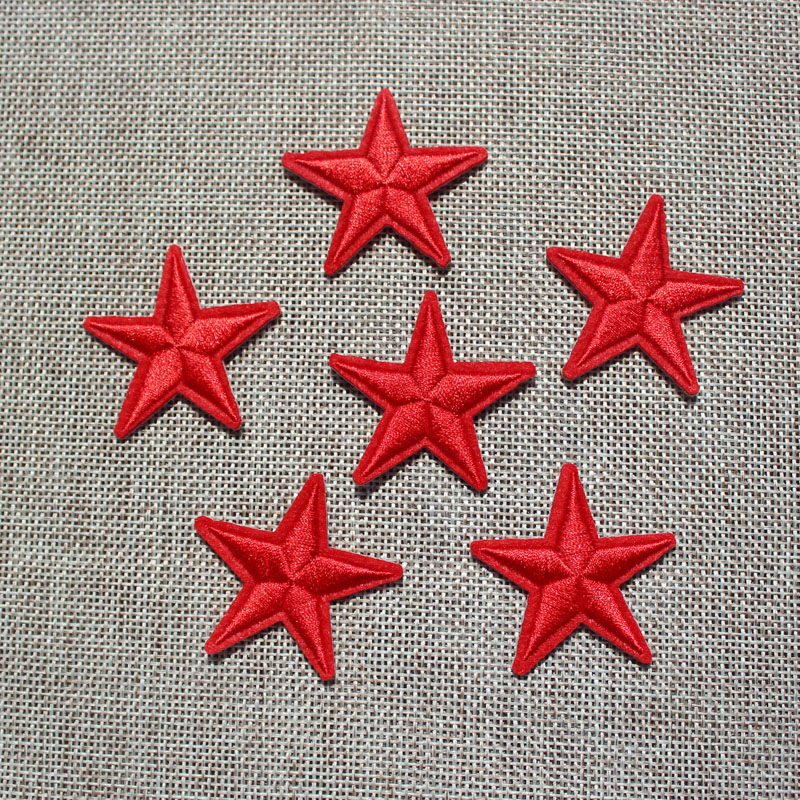 New arrival 10 pcs Red Color little star Embroidered patches iron on cartoon Motif Applique DIY nembroidery accessory