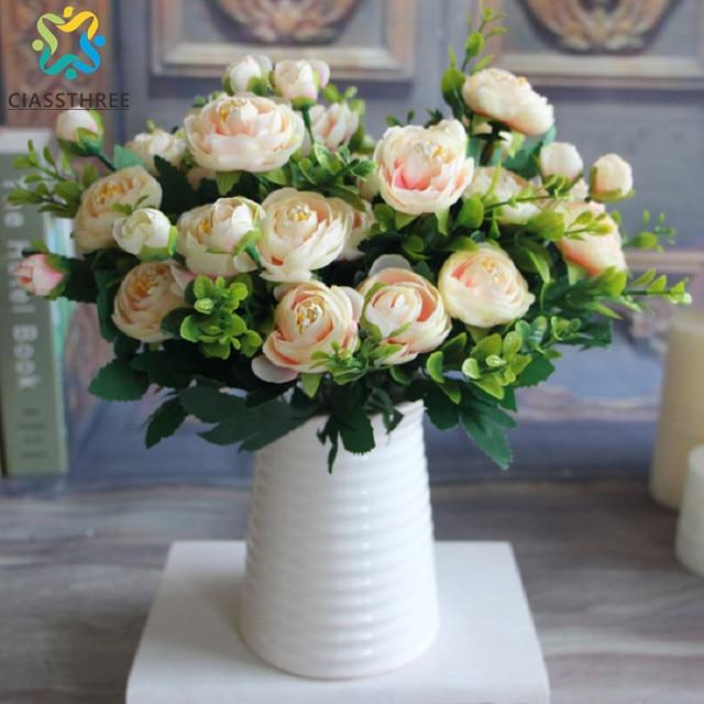 High Quality Silk Flower European 1 Bouquet Artificial Flowers Fall Vivid  Peony Fake Leaf Wedding Home
