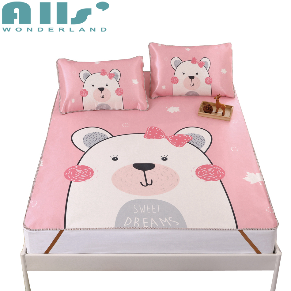 Pink Mattress Protector Cute Cartoon Patterns Bed Pad Polyester Pillow Case High Quality Bed Cloth Cooling Mattress Pad AWANXY