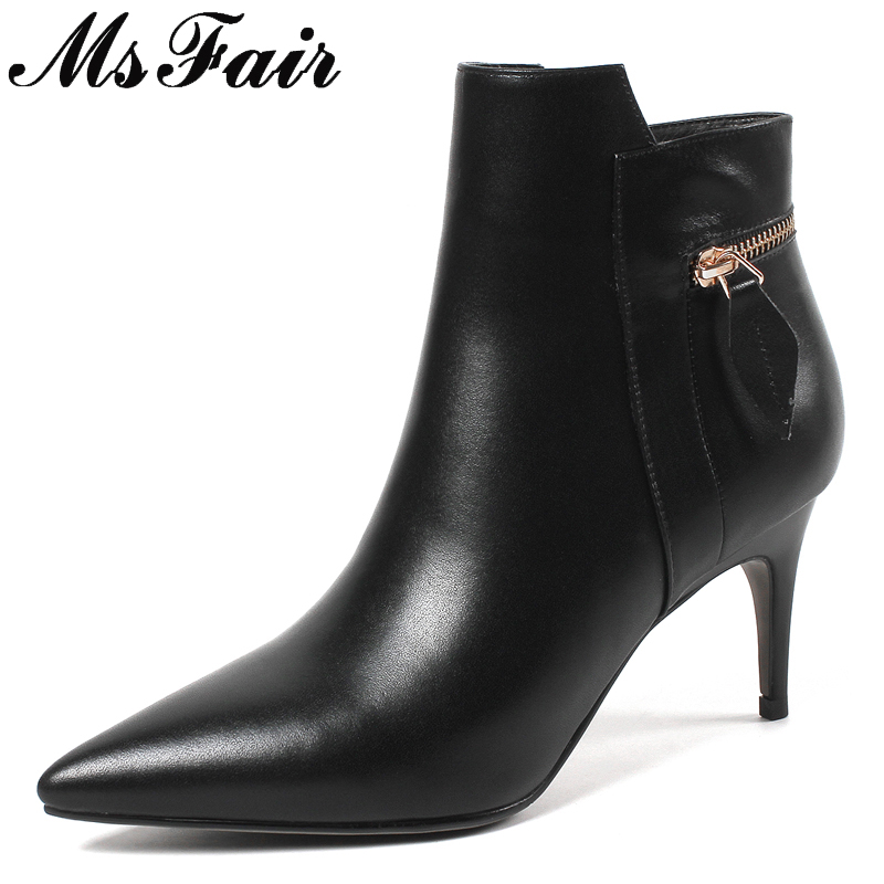 MSFAIR Pointed Toe Stiletto heel Women Boots Fashion Zipper Ankle Boots Women Shoes High Heel Genuine Leather Boots Shoes Woman msfair pointed toe high heel women boots genuine leather zipper ankle boots women shoes winter black beige red boots shoes woman