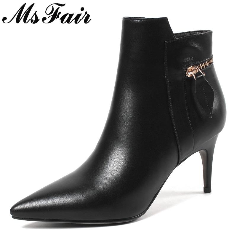 купить MSFAIR Pointed Toe Stiletto heel Women Boots Fashion Zipper Ankle Boots Women Shoes High Heel Genuine Leather Boots Shoes Woman по цене 3998.25 рублей