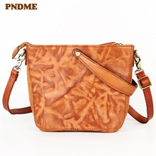 PNDME fashion vintage designer handmade high quality genuine leather cowhide ladies handbags womens shoulder messenger bags