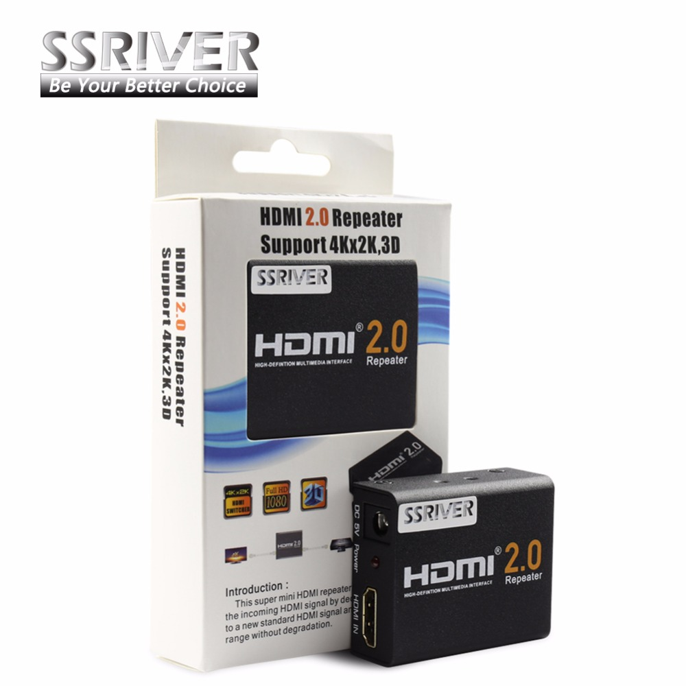 SSRIVER 4K HDMI 2.0 Repeater 2160 HDMI Extender 1080P 3D HDMI Adapter Signal Amplifier Booster 4.95Gbps Over Signal HDTV link mi ex29 hdmi signal amplifier repeater