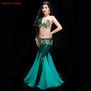 Image 3 - 2 pièces pour femmes, tenue de danse du ventre, tenue de soirée, soutien gorge, jupe en queue de poisson, tenue de compétition de danse du ventre